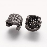 11mm Baseball Cap Cubic Zirconia Focal Beads, Black Finish