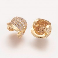 11mm Baseball Cap Cubic Zirconia Focal Bead, Gold Tone
