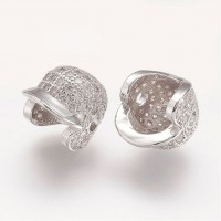 11mm Baseball Cap Cubic Zirconia Focal Beads, Rhodium Plated