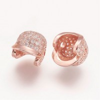 11mm Baseball Cap Cubic Zirconia Focal Beads, Rose Gold Tone