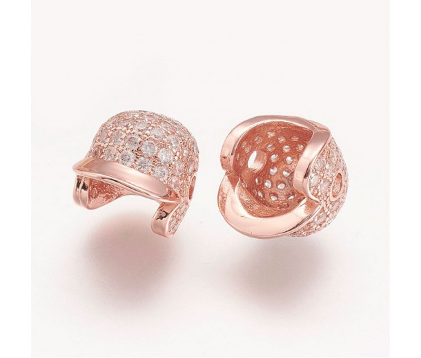 11mm Baseball Cap Cubic Zirconia Focal Bead, Rose Gold Tone