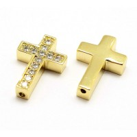 Pave Cubic Zirconia Bead, Gold Tone, 18x12mm Cross