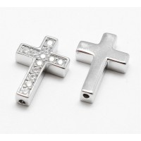 Pave Cubic Zirconia Bead, Rhodium Plated, 18x12mm Cross