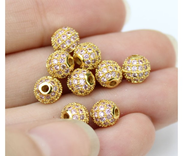 Light Purple Gold Tone Cubic Zirconia Bead, 6mm Round