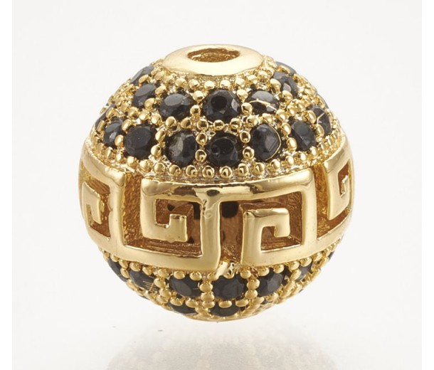 Micro Pave Bead with Greek Key Pattern, Black on Gold Tone, 10mm Round