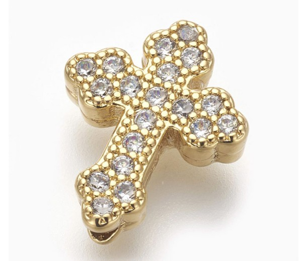 Pave Cubic Zirconia Bead, Gold Tone, 15mm Budded Cross