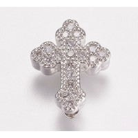 Pave Cubic Zirconia Bead, Rhodium Plated, 15mm Budded Cross