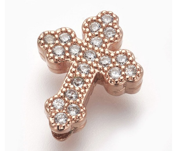 Pave Cubic Zirconia Bead, Rose Gold Tone, 15mm Budded Cross