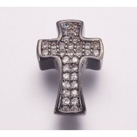 Pave Cubic Zirconia Bead, Gunmetal, 14mm Cross