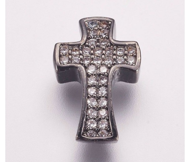 Pave Cubic Zirconia Bead, Gunmetal, 14mm Cross
