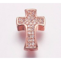 Pave Cubic Zirconia Bead, Rose Gold Tone, 14mm Cross