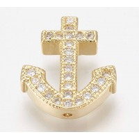 Pave Cubic Zirconia Focal Bead, Gold Tone, 15mm Anchor
