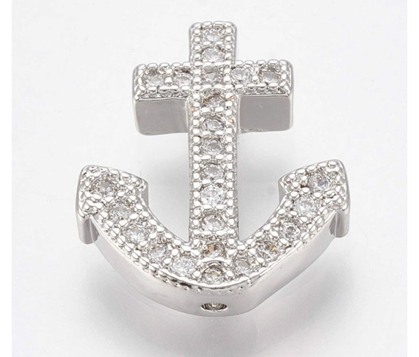 Pave Cubic Zirconia Focal Bead, Rhodium Plated, 15mm Anchor