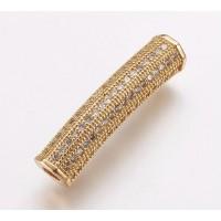 Micro Pave Rhinestone Bead, Gold Tone, 26mm Curved Tube