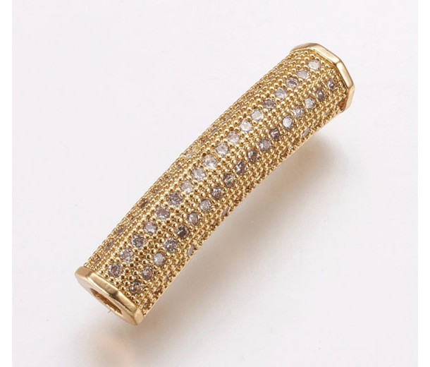 Micro Pave Rhinestone Bead, Gold Tone, 26mm Curved Tube