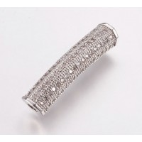 Micro Pave Rhinestone Bead, Rhodium Plate, 26mm Curved Tube