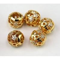 Cutout Stars Cubic Zirconia Beads, Gold Tone, 10mm Round