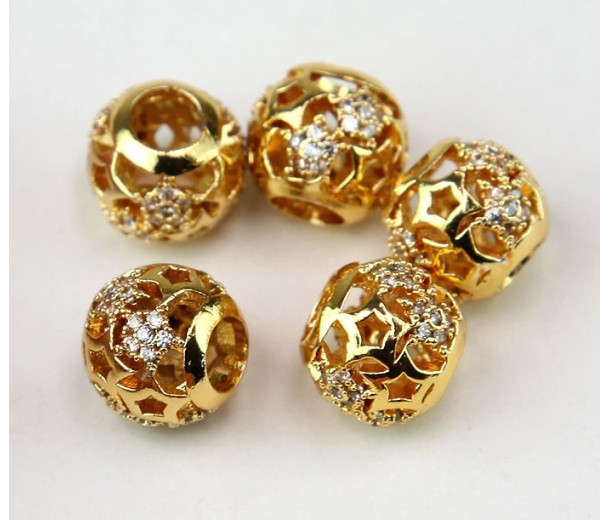 Cutout Stars Cubic Zirconia Beads, Gold Tone, 10mm Round