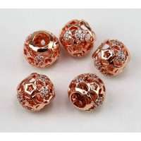 Cutout Stars Cubic Zirconia Beads, Rose Gold Tone, 10mm Round