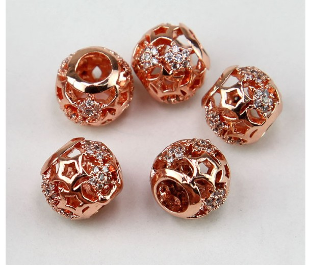 Cutout Stars Cubic Zirconia Bead, Rose Gold Tone, 10mm Round