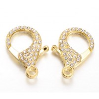 30mm Rhinestone Pave Extral Large Lobster Clasp, Gold Tone
