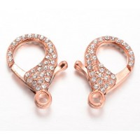 30mm Rhinestone Pave Extral Large Lobster Clasp, Rose Gold Tone