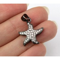 17mm Starfish Cubic Zirconia Charm, Black Finish