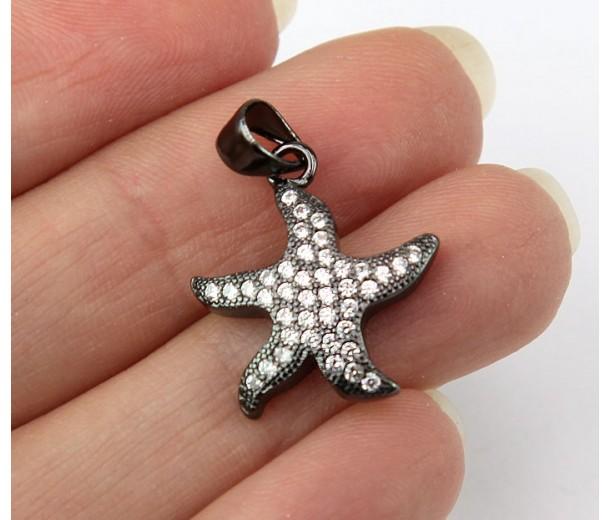 17mm Starfish Cubic Zirconia Charms, Black Finish