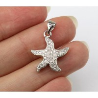 17mm Starfish Cubic Zirconia Charm, Rhodium Finish
