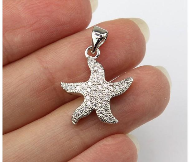 17mm Starfish Cubic Zirconia Charm, Rhodium Finish