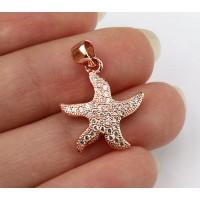 17mm Starfish Cubic Zirconia Charm, Rose Gold Tone