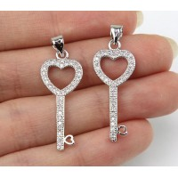 22mm Heart Key Cubic Zirconia Pendant, Rhodium Finish
