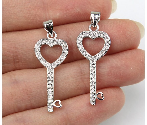 22mm Heart Key Cubic Zirconia Pendants, Rhodium Finish