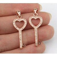 22mm Heart Key Cubic Zirconia Pendant, Rose Gold Tone