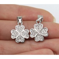 15mm Lucky Clover Cubic Zirconia Pendant, Rhodium Finish, 1 Piece