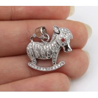 18mm Rocking Horse Cubic Zirconia Pendant, Rhodium Finish