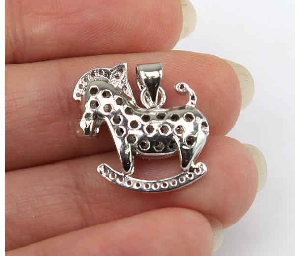 18mm Rocking Horse Cubic Zirconia Pendant, Rhodium Finish
