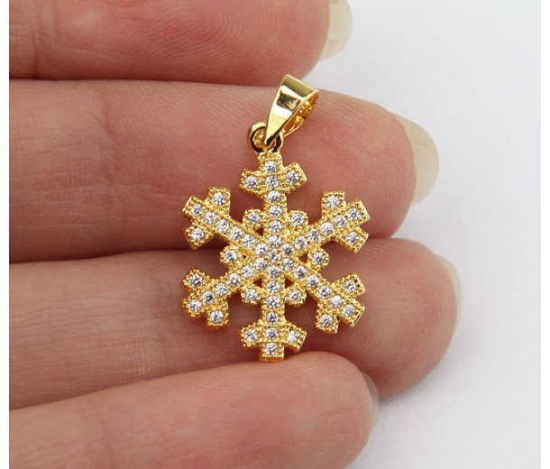 20mm Snowflake Cubic Zirconia Pendants, Gold Tone