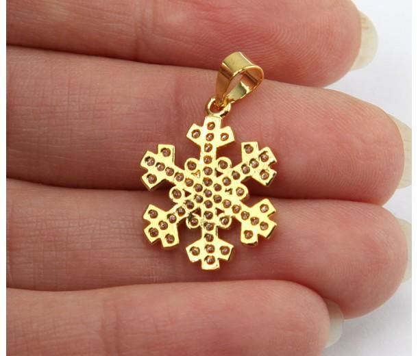 20mm Snowflake Cubic Zirconia Pendant, Gold Tone