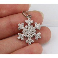 20mm Snowflake Cubic Zirconia Pendant, Rhodium Finish