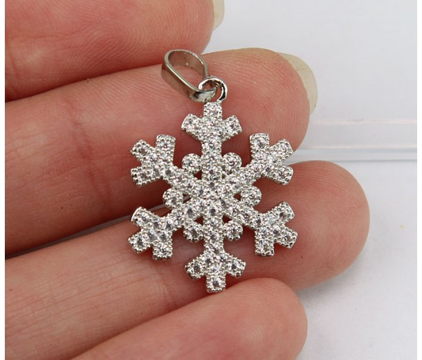 15mm Snowflake Cubic Zirconia Pendant, Rhodium Finish