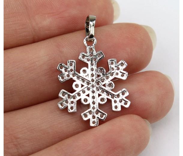 15mm Snowflake Cubic Zirconia Pendant, Rhodium Finish