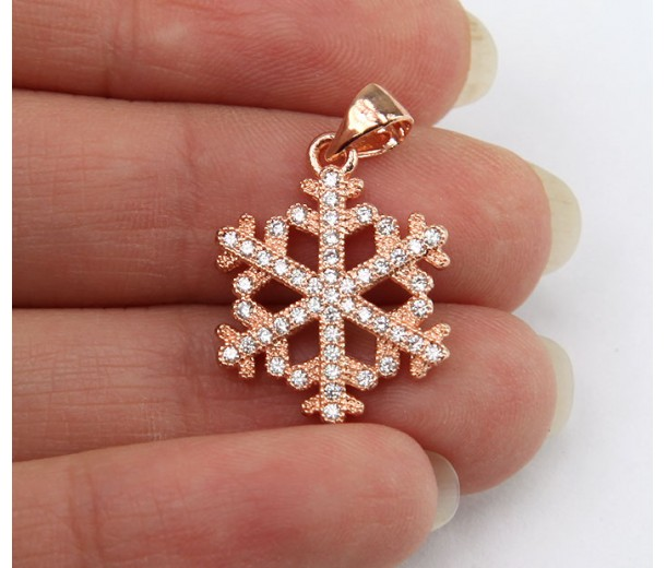 17mm Snowflake Cubic Zirconia Pendants, Rose Gold Finish