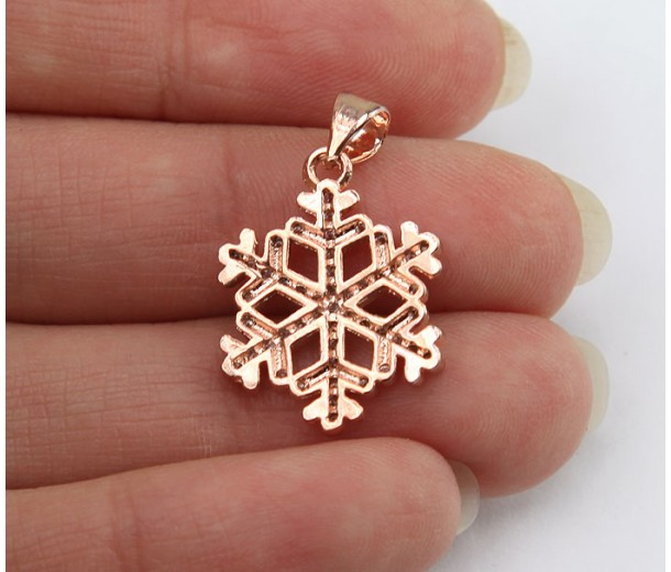 17mm Snowflake Cubic Zirconia Pendant, Rose Gold Finish