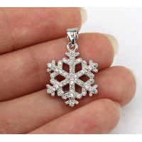 17mm Snowflake Cubic Zirconia Pendant, Rhodium Finish
