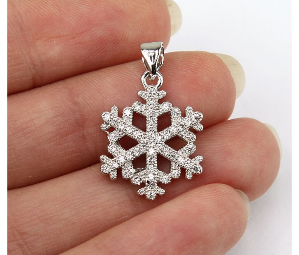 17mm Snowflake Cubic Zirconia Pendants, Rhodium Finish