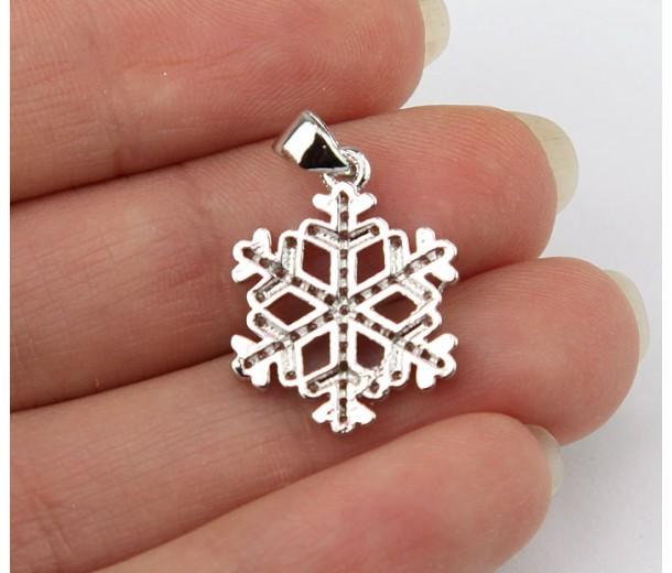 17mm Snowflake Cubic Zirconia Pendant, Rhodium Finish