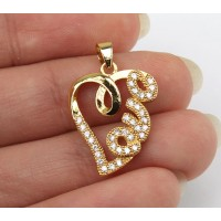 20mm Love Heart Cubic Zirconia Pendant, Gold Tone