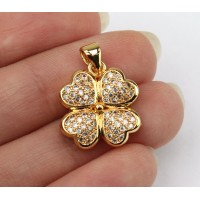 18mm Lucky Clover Cubic Zirconia Pendant, Gold Tone