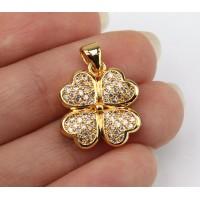 18mm Lucky Clover Cubic Zirconia Pendant, Gold Tone